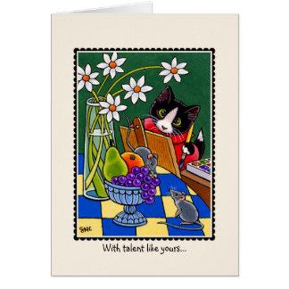 インスピレーションの勇気付けられるの刺激猫の芸術カード カード