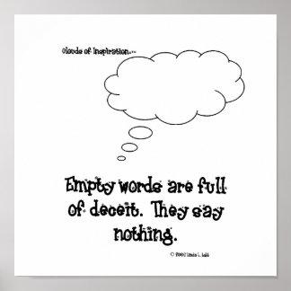 インスピレーションの空虚な言葉の雲はdeceの完全です ポスター