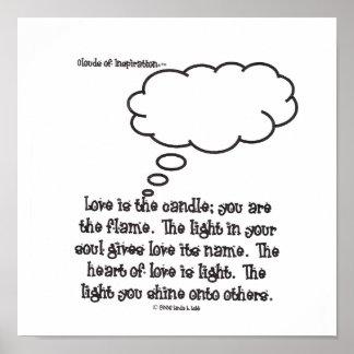 インスピレーション愛の雲は蝋燭です; あります プリント