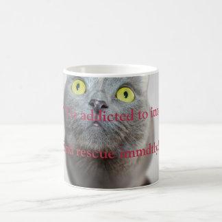 インターネットに熱中されるおもしろいな猫のiz コーヒーマグカップ