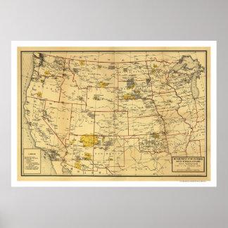 インティアン特別保留地の地図1923年 ポスター