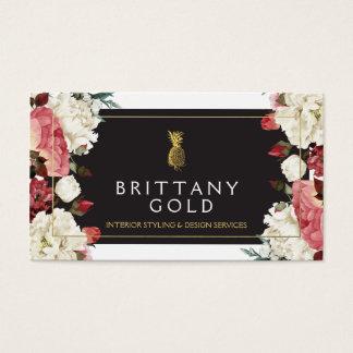 インテリア・デザイナーの名刺-シックな金ゴールドの花柄 名刺
