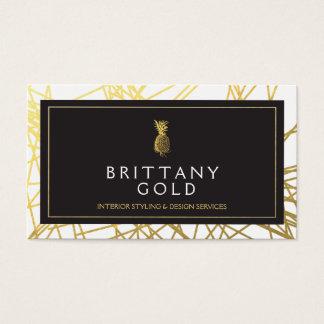 インテリア・デザイナーの名刺-シックな金ゴールド 名刺
