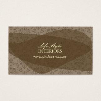 インテリア・デザイナーの名刺、チョコレートダマスク織 名刺