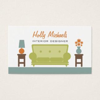 インテリア・デザイナー-緑の居間のソファー 名刺