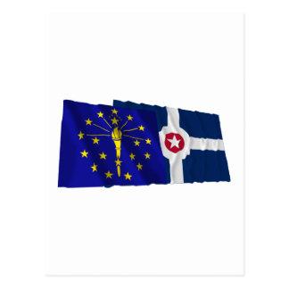 インディアナおよびインディアナポリスの旗 ポストカード