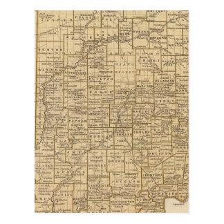 インディアナの地図書の地図 ポストカード