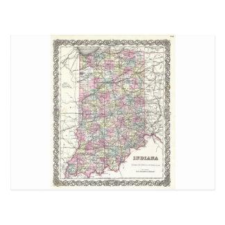 インディアナの地図。 ヨセフHutchins Colton ポストカード