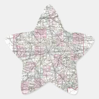 インディアナの地図。 ヨセフHutchins Colton 星シール
