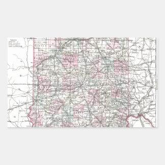 インディアナの地図。 ヨセフHutchins Colton 長方形シール