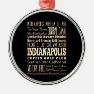 インディアナの州のタイポグラフィの芸術のインディアナポリス都市 メタルオーナメント