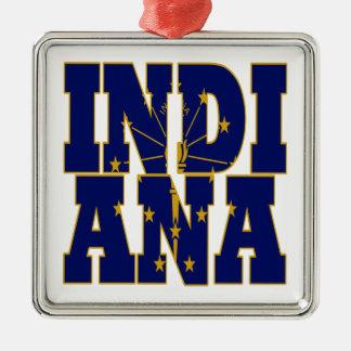 インディアナの州の旗の文字 メタルオーナメント