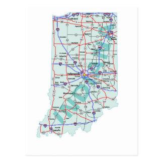 インディアナの州連帯の地図の郵便はがき ポストカード