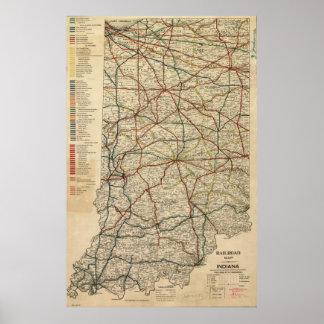 インディアナの鉄道システム(1896年)のヴィンテージの地図 ポスター