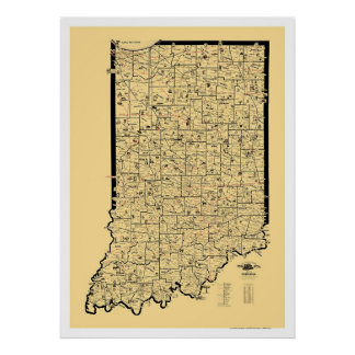 インディアナの鉄道地図1897年 ポスター