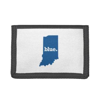 インディアナの青い州 ナイロン三つ折りウォレット