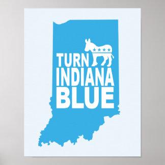 インディアナの青く進歩的な芸術ポスターを回して下さい ポスター