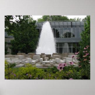 インディアナポリスの美術館の前の噴水 プリント