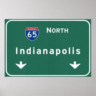 インディアナポリスインディアナの州間幹線道路の高速道路: プリント