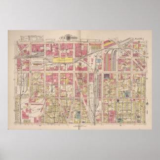 インディアナポリスインディアナ(1916年)のヴィンテージの地図 ポスター