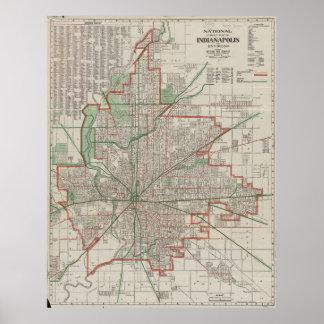 インディアナポリスインディアナ(1921年)のヴィンテージの地図 ポスター