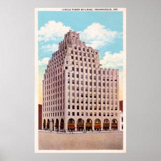 インディアナポリス、インディアナの円タワーの建物 ポスター
