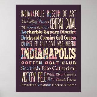 インディアナポリス、インディアナの有名な場所 ポスター