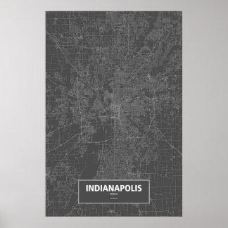 インディアナポリス、インディアナ(黒で白い) ポスター