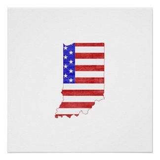 インディアナ米国のシルエットの州の地図 ポスター