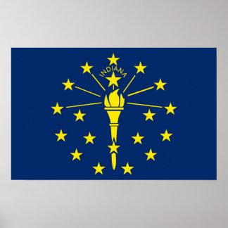 インディアナ、米国の旗が付いているキャンバスのプリント ポスター