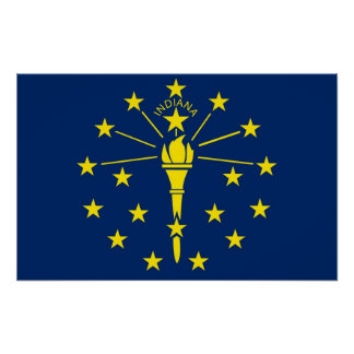 インディアナ、米国の旗が付いている組み立てられたプリント ポスター