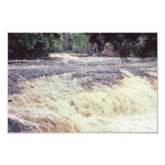 インディアナWabash川の急流木および水 フォトプリント