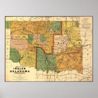 インディアンおよびオクラホマの領域の1892地図 ポスター