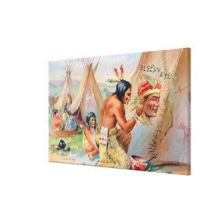 インディアンが付いている眠い目の小麦粉の広告 キャンバスプリント