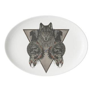 インディアンのスカルのファンタジーのスタイル 磁器大皿