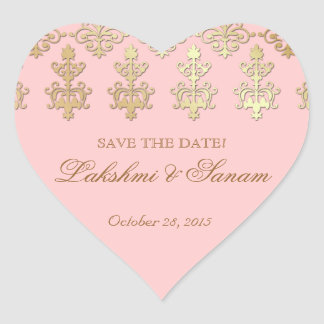 インディアンの保存の日付の結婚式のステッカーのピンクのハート ハートシール