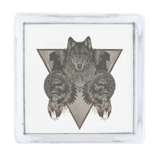 インディアンスカルおよびオオカミのデザイン シルバー ラペルピン