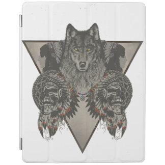 インディアンスカルおよびオオカミのデザイン iPadスマートカバー