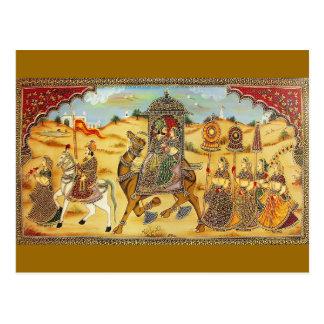 インディアン-ラクダを持つ絵画の結婚の行列 はがき