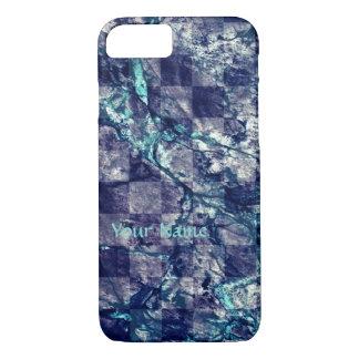 インディゴによって揚げられている大理石の一見のティール(緑がかった色)の青い紫色のiPhone 5 iPhone 8/7ケース
