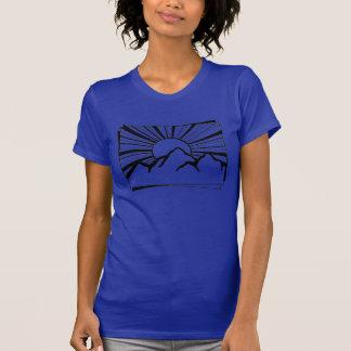 インディゴのロドニーリッジ山のロゴの女性のTシャツ Tシャツ