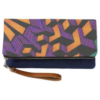 インディゴの折目の抽象芸術 クラッチバッグ