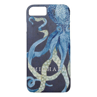 インディゴの海のタコwの赤い珊瑚の水彩画の芸術 iPhone 8/7ケース