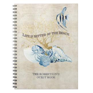 インディゴの海の生命はビーチの貝でよりよいです ノートブック