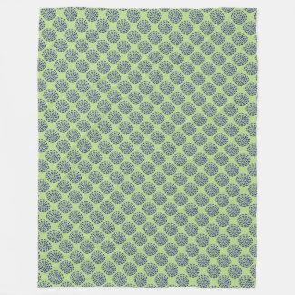 インディゴの緑の濃紺のストライプのな円パターン フリースブランケット
