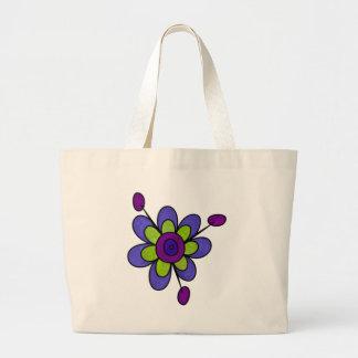 インディゴ及び緑のおもしろいの花 ラージトートバッグ