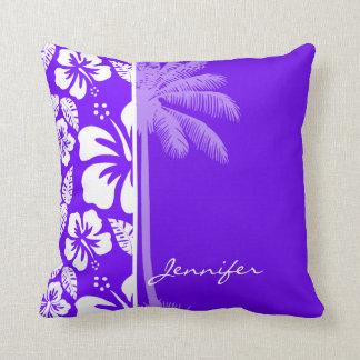 インディゴ、紫色のハワイのヤシの木 クッション