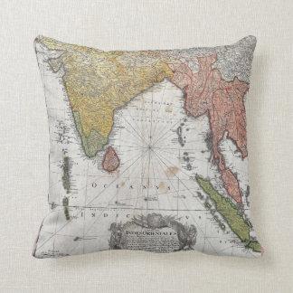 インドおよび東南アジアの1748年のHomannの相続人の地図 クッション