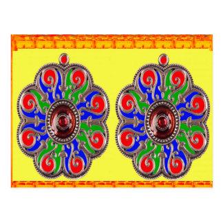 インドのサフランの黄色の紫色の宝石DIYのテンプレートのおもしろい ポストカード