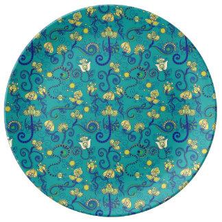 インドのスタイル、bohoの上品、青いパターン 磁器プレート